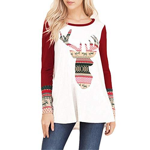 OverDose Damen Tuniken Pullover Festival Weihnachten Frauen Rentier Blusen  T-Shirt Xmas Party Clubbing Schlank fc0690e3d3
