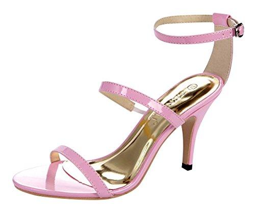 Chalmart Sandales Femme élégant Chaussure De Talon Fashion Style Rose