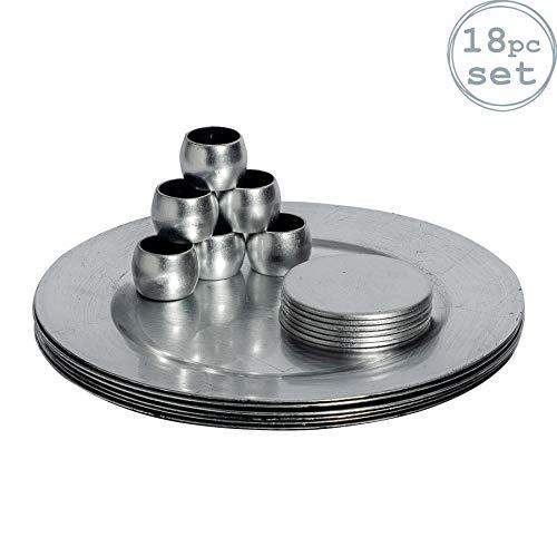 Argon Tableware Untersetzer, Untersetzer und Serviettenringe in Silber - 18er Set