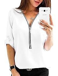 bf4af09f9918 YUPOLB T-Shirt Damen Locker Einfarbig Blouse Tops Hemden V-Neck Halbe Hülse  Oberteile
