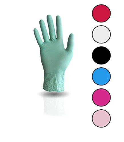 100 Stück Nitril Einweghandschuhe, Einmalhandschuhe puderfreie und unsterile Kochhandschuhe Tättowierhandschuhe Tattoo Handschuhe, (M, grün)