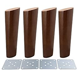 4Pcs 18cm Solid Walnut Color Oblique Tapered Reliable Wood Furniture Cabinets Legs Sofa Feet