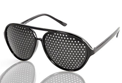 NERD Piloten-Brille Loch-Brille Raster-Brille Flieger-Brille Augen-Trainer schwarz