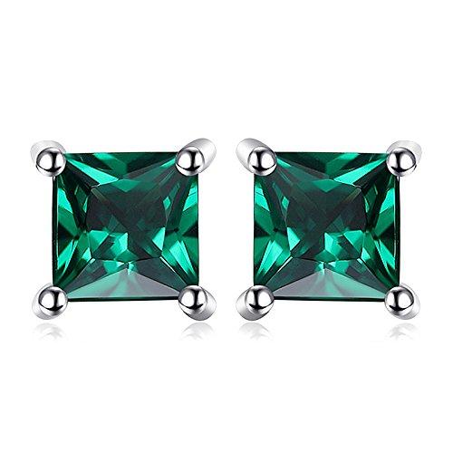 Jewelrypalace 0.6ct Grün Prinzess Simulierte Nano Russisch Smaragd Ohrstecker Ohrring 925 Sterlingsilber