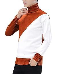 Hombre Jersey Cuello Alto Invierno Manga Larga Basico Casual Suéter Prendas  De Punto Slim Fit Marrón a01760301399