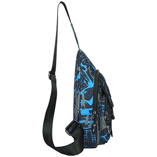 Yy.f Herren-Brusttasche Lässig Oxford Tuch Wasserabweisend Schulter Und Kleine Diagonal Mode-Taschen Freizeittaschen Langlebig Blue