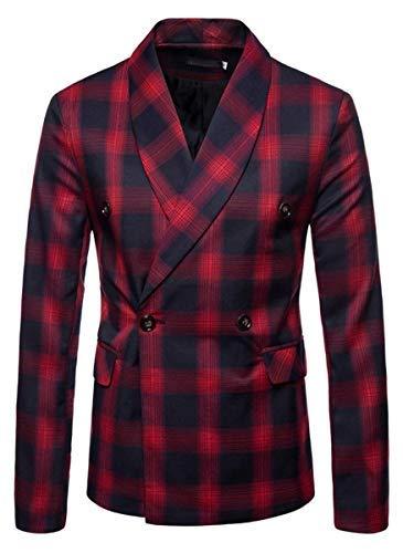 QZH.DUAO Herren Plaid Blazer Jacke - Rot - Large/52 -