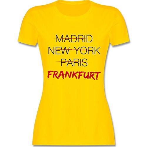 Shirtracer Städte - Weltstadt Frankfurt - Damen T-Shirt Rundhals Gelb