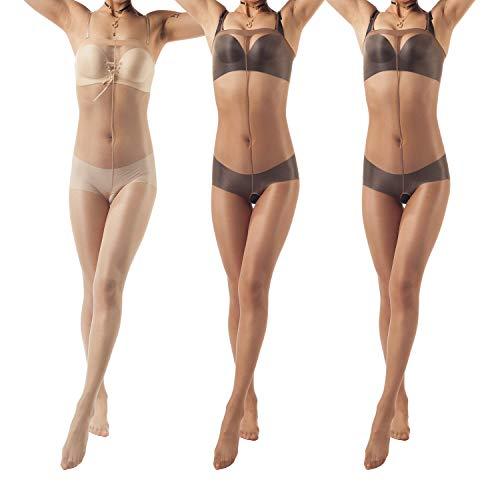 ElsaYX Damen Nylon Bodystocking, Ganzkörper Strumpfhose, ouvert, offener Schritt, Dessous -