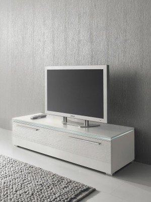 Lowboard TV Schrank 120 cm weiß Fronten Hochglanz, optional LED-Beleuchtung, Beleuchtung:ohne Beleuchtung