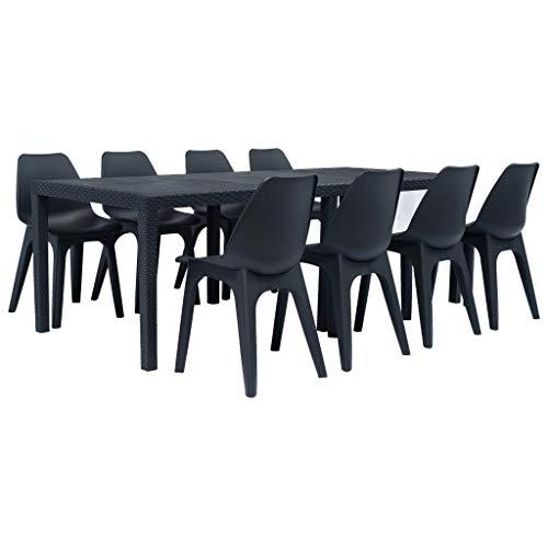 Fesjoy Set di mobili da Esterno Patio Conservatory Indoor Tavolo da Pranzo 8 posti Sedia Set Set di mobili da Giardino Tavolo in plastica Solida per la Cucina