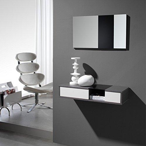 Meuble d'entrée Cendre + miroir - CLOUD - L 80 x l 28 x H 15