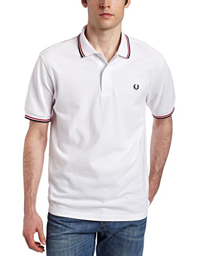 FRED PERRY TWIN TIPPED POLO WHT/BRT RED/NVY in Groesse: M