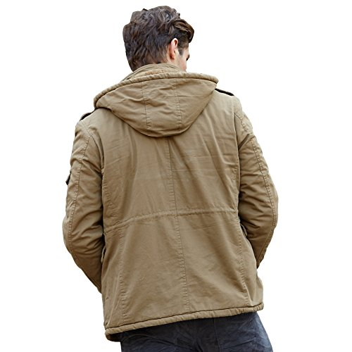 URBANFIND Herren Normale Passform L?ssige Kapuzen Vlies Winter Mantel Klassische Mode Warm Baumwoll Jacke Khaki 2