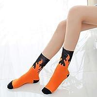 Sky-Grow Calcetines de Punto Calcetines Deportivos de algodón, Baile Callejero, Yoga, Pilas de Calcetines, Hombres y Mujeres, Llamas, Calcetines, Calcetines (Color: Naranja)