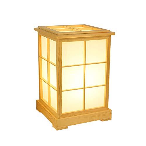 YU-K Lampe de table abat-jour en peau de mouton de style japonais, lampe de chevet en bois massif avec lampe de chevet en tatami, 22 *   22 *   33,5 cm, lumière chaude