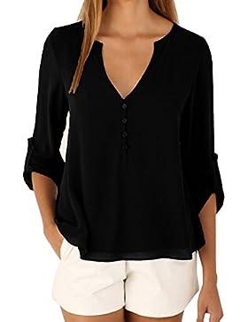 Mujeres Cuello En V Suelto Manga Larga Blusa Camisa Camiseta Casual Top Negro 2XL