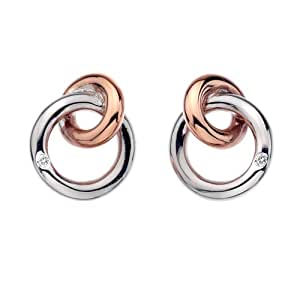 Hot Diamonds 18ct Rose Gold Plated Eternity Interlocking Stud Earrings