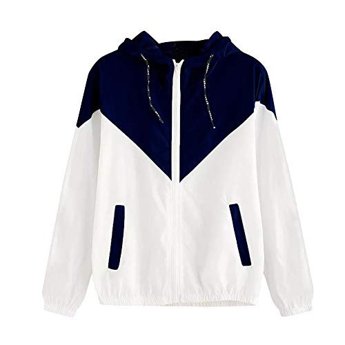 Damen Beiläufig Lange Ärmel Patchwork Übergroß Reißverschluss Jacke Mantel Windjacke Mantel Frühling Herbst Stilvoll Bequem Outwear Kurz Mantel