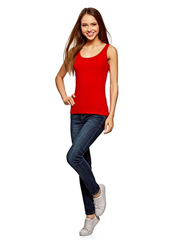 oodji Collection Donna Canotta Basic Rosso (4500N)
