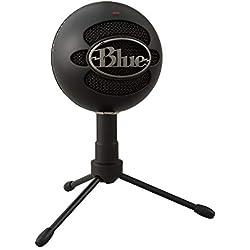Blue Microphones Snowball ICE Micrófono para grabación y transmisión en PC y Mac, cápsula de condensador cardioide, soporte ajustable, Plug and Play - Negro, Negro