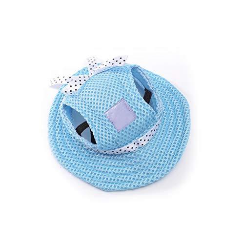 YaptheS Mascota Sombrero de Sun con Agujeros de Las Orejas S Tamaño del Perro del Gato Azul al Aire Libre del Casquillo Gorra de béisbol Mascota Visera del Sombrero Verano con Estilo