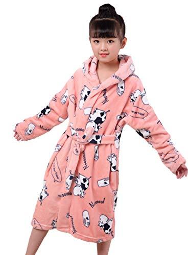 XINNE Jungen Mädchen Kapuzen-Bademäntel Unisex Kinder Morgenmantel Flanell-Pyjama Weiche Herbst Winter Nachtwäsche Größe M Rosa Kuh (Kuh-pyjama Für Kinder)