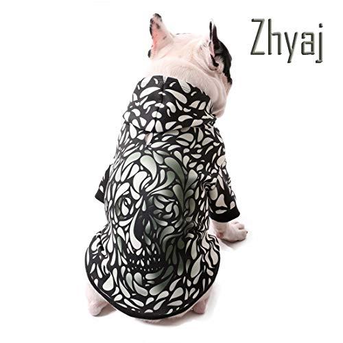 Kostüm Gothic Hunde - Zhyaj Pet Kleidung Winter Mode Lebensechte 3D Printed Gothic Schädel Pullover Atmungsaktives Chien Jacke Mantel Warme Hundejacke Haustier Sweatshirt,XXL