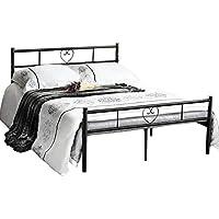 Aingoo Cama de metal Estructura Marco de la cama doble con somier y cama de metal con listones (135_x_190_cm) - Muebles de Dormitorio precios