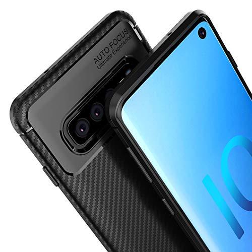 Wanxideng - Cover Samsung Galaxy S10, [Texture in Fibra di Carbonio] Custodia Robusta per Armature Cover in Silicone Morbido e Sottile - Nero