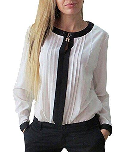 LaoZan Donna Camicetta Camicia Collo Rotondo con Maniche Lunghe Portato a Lavoro Bianco Small
