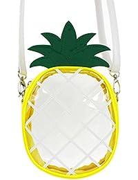 AiSi Mädchen 3D kleine süße Obst Tasche mini Umhängetasche moderne Handtasche transparente Abendtasche Clutch Party-bags mit Umhängegurt Reißverschluss Zitrone Wassermelone Ananas