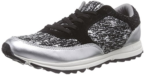 Sam Edelman Damen Sneakers Silber (nero / Bianco Metallico Boucle)