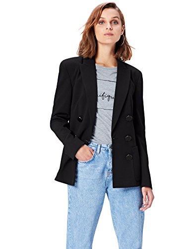 FIND Damen Relaxed Fit Doppelreihiger Blazer Schwarz (Black), 36 (Herstellergröße: Small) (Relaxed Anzug Fit)