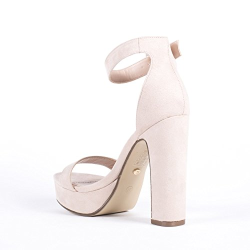 Ideal Shoes Sandales à Talon Carré Effet Daim Naomia Beige