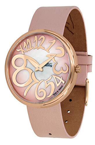 Moog Paris Ronde Art-Deco Women's Watch with Pink Mother of Pearl Dial, Pink Strap in Adjustable Nubuck lace - M41671-F42