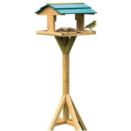 Vogelfutterhaus mit Ständer 112cm - stabile Futterstation, rundum geöffnet