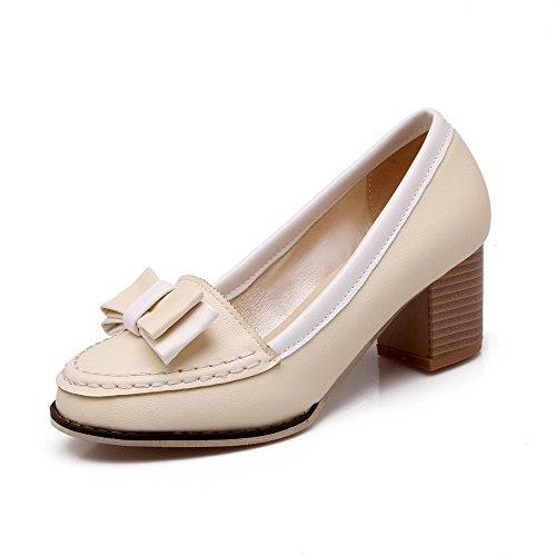 AllhqFashion Femme Matière Souple Tire à Talon Correct Couleurs Mélangées Chaussures Légeres Beige