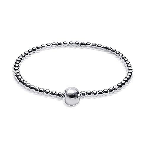 MATERIA Kugelketten Armband 925 Sterling Silber rhodiniert flexibel 17-24cm inkl. Schmuckbox #SA-37