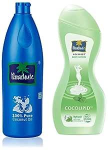 Parachute Coconut Oil Bottle - 600 ml & Advansed Body Lotion Refresh, 250 ml Combo