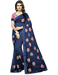 High Glitz Fashion Women's Blue Colour Embroidery Work Mono Net Saree With Blouse Piece