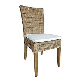 Casamia Cardine Chaise de Salle à Manger en rotin avec Coussin Blanc/Marron Taille Unique