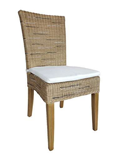 Casamia Rattan-Stuhl Esszimmerstuhl Cardine weiß oder braun Cappuccino mit Sitzkissen, One Size