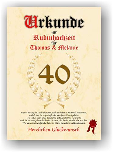 Urkunde zum 40. Hochzeitstag - Rubinhochzeit - Geschenkurkunde Rubin Hochzeit personalisiertes Geschenk Karte zum Ehrentag XXL DIN A4