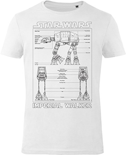 GOZOO Star Wars T-shirt Uomo Imperial Walker 100% Cotone Bianca XL
