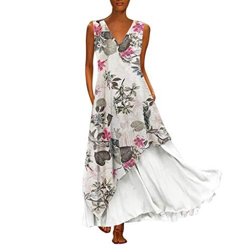 Tohole Damen Strandkleider Türkischer Stil Boho Lose Tunika Lange Sommerkleider Shirt Strandhemd Kleid Urlaub Vintage unregelmäßiges Kleid(Weiß-J,2XL) (Kleider Ball Kleid Militär)