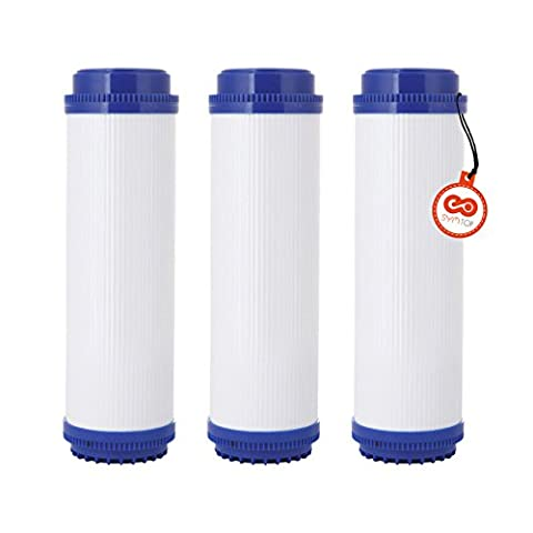 10 Inch RO Reverse Osmosis Granular Activated Carbon GAC Water Filter Cartridge, 3 Pack