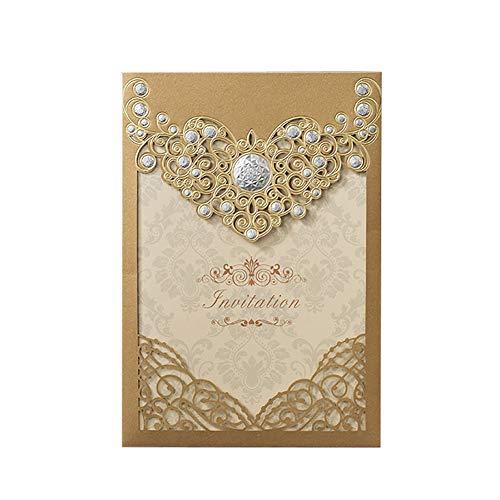Lumanuby. 50x Herrlich Hohl Einladungen Hochzeit mit Rebe Bild und Leer Innen für Party von Geburtstag Baby-Dusche Verlobung Einladungskarte Papier mit Laserschnitt Herz 12.7x18.5cm (Gold)