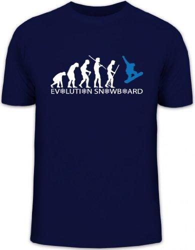 Shirtstreet24, EVOLUTION SNOWBOARD 2.0, Wintersport Après Ski Herren T-Shirt Fun Shirt Funshirt, Größe: XL,dunkelblau