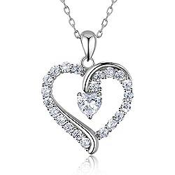 """Collier coeur en argent sterling 925 - Billie Bijoux""""Tu es Le Seul"""" Pendentif diamant plaqué or amoureux 18"""""""